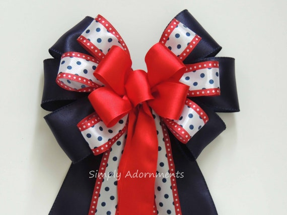 Red White Navy Bow July 4th wreath Bow 4th of July Party Decor Independence Day Party Decor Patriotic Weath Bow Wedding Pew Bow Gifts Bow