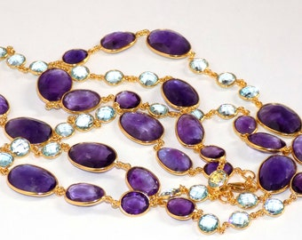 Amethyst with Blue Topaz Bezel Necklace in .925 Sterling Silver Gold Tone Finish