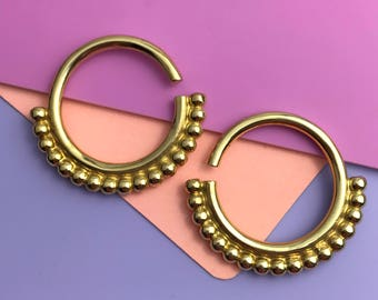 Mother India Ear Weights - Solid Brass - Ear Hangers for Stretched Lobes