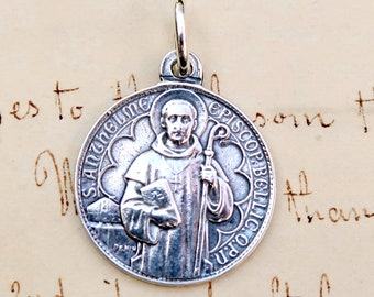 St Anselm of Canterbury Medal - Doctor of the Church - Sterling Silver Antique Replica