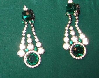 1970s Kenneth J. Lane Emerald/ Rhinestone Drop Earrings, Clip Back  Item #825 Jewelry