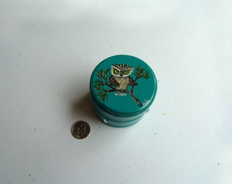 Owl Box, Ring box, Turquoise round box, Mother's Day gift, Mini card with order, Cute gift, Mother's day ring box,