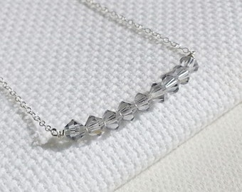 Crystal Bar Necklace. Sterling Silver Necklace. Delicate Dainty. Sparkly Bar Necklace. Layering Necklace