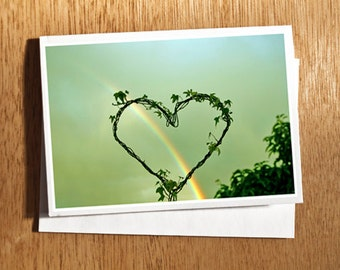 Rainbow Heart Love CARD Original Photo on Nice Thick Card Stock Love, Heart, Rainbow, Arc en Ciel, Valentine, Love Photo Wedding Card,