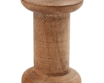 Yarn Coil, Wood, H. 70 mm, Ø 48 mm, Antique look