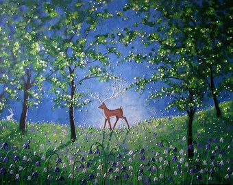 A3 Print Evening in the Bluebell Wood A3 high quality print / poster