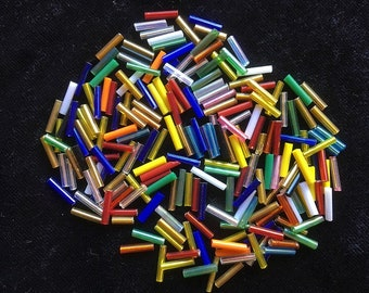 GLASS BEADS - Bugle Beads - 10mm x 2mm - 50g (450 Pieces) - New