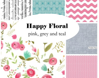 HAPPY FLORAL-Custom Crib Bedding-3 piece+