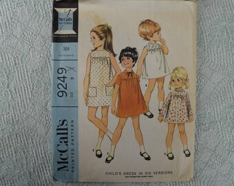 McCall's Sewing Pattern 9249 child's dress from 1968