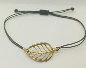 Blatt-Armband. Blattgold-Armband. Botanische Schmuck. Einstellbar. Wunscharmband. Freundschaftsarmband. Stacking-Armband.
