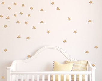 Star Peel And Stick Wall Decals - Set Of 50 - Bedroom Decals - Wallpaper Decals - Gold Star Decals