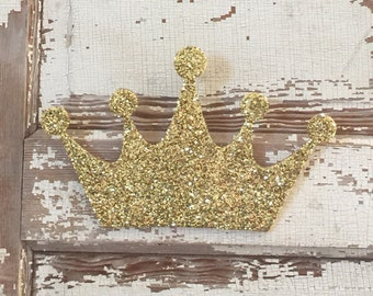 Gold Glitter Princess Crown Decor, Wall Decoration, Girls Bedroom Decor, Fairytale Decor, Princess Theme Nursery