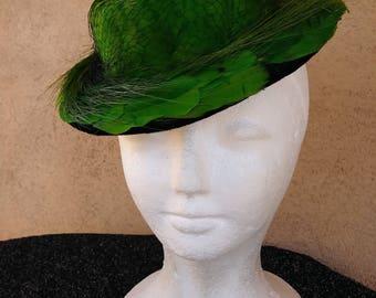 Vintage 1940s Hat 40s Tilt Perch Fascinator Topper Suiter Hat