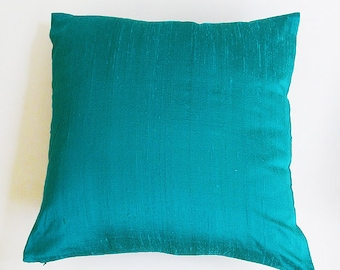 Turquoise  blue dupioni silk  pillow.  Decorative silk pillow. Luxury cushion covers  cover .