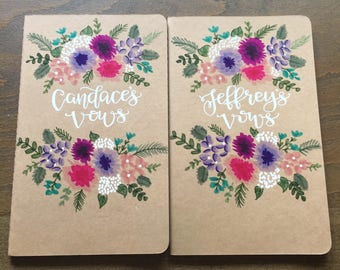 wedding vow books watercolor florals / his & hers / unique wedding gift / wedding keepsake / set of 2 kraft moleskine journals.