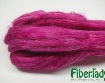 4 oz Hand painted Bamboo combed top spinning fiber - Raspberry