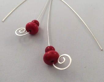 Long swirl long drop red earrings
