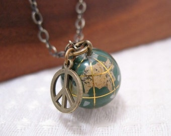 Give Peace A Chance World Globe Necklace