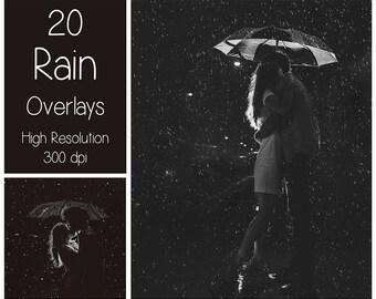 20 Rain Overlays - Rain Textures - Rain Photoshop Overlays - Raindrop - Autumn - Rainy Weather - Photography Overlay - Photoshop Texture