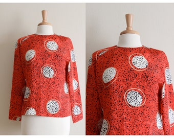 Vintage Spotted Orb Print Red & Black Blouse