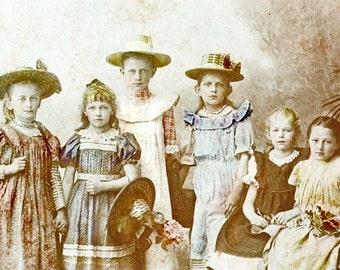 Six Little Girls Hats Flowers Fine Art vintage photograph