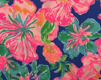 "beckon blue jungle utopia poplin cotton fabric square 17""x17"" ~ lilly spring 2018 ~ lilly pulitzer"