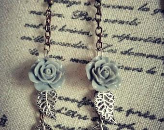 Elegant Purple Rose Earrings