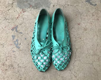 Vintage 80's Huaraches Leather Hippie Sandals Strappy 9 Woven Silp Ons Green Turquoise Teal 90's K