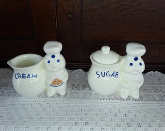 Pillsbury Doughboy Sugar & Creamer Set NOS