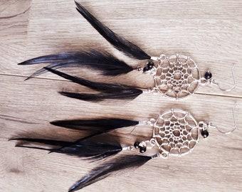 Boucles d'oreilles plume Noir, feather. Capteur de rêve, dream catcher