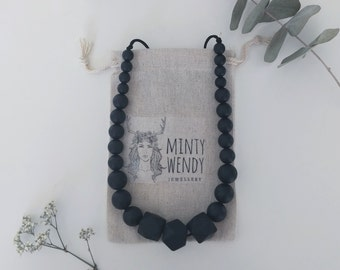 Necklace Colomba - Teething Necklace nursing necklace - black