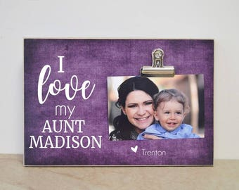Personalized Aunt Gift  {I LOVE MY Aunt XXX...}  Photo Frame Birthday Gift For Aunt, Personalized Picture Frame, Auntie Gift, Auntie Frame