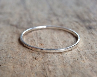 One Stackable Ring, Gift For Her, Sterling Silver Ring, Stacking Ring, Thin Ring, Skinny Ring, Bohemian Jewelry