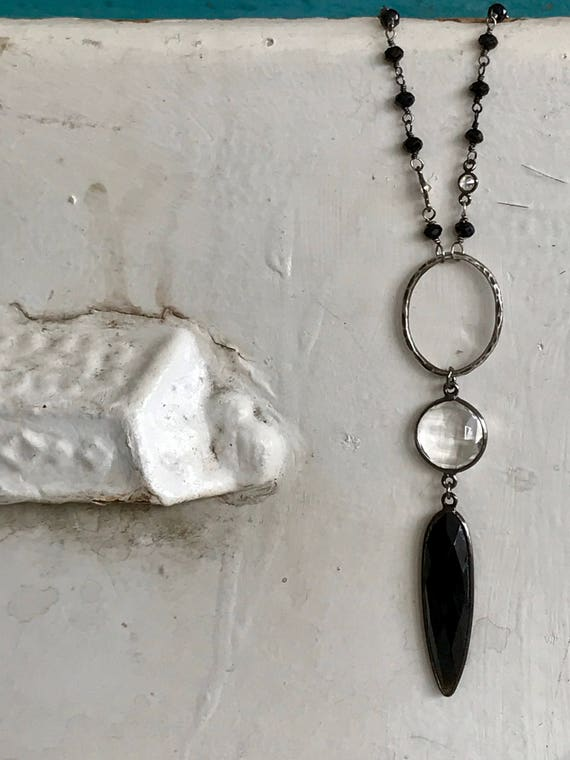 Highclere. Spectrolite and white topaz chain with hand-forged link, crystal coin and onyx dagger. Handmade and OOAK from ladeDAH!