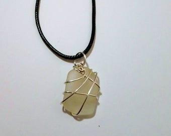 Natural Cornish Wire Wrapped Sea Glass Pendant.
