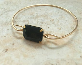 Black Gemstone Bangle Bracelet,Black Stone Stacking Bracelets, Black Gemstone Gift Jewelry, Christmas Gift,Thin Bangle, Stackable Bracelet
