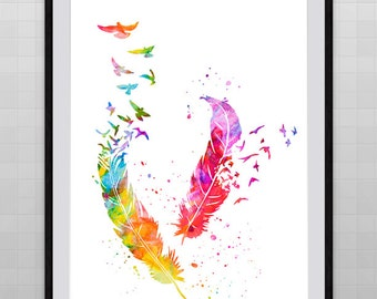 Watercolor Feathers and Birds  Art Print - Kid's Room Decor Wall Hanging Birthday Gift Housewarming Gift