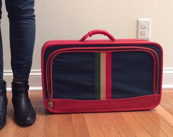 Vinyl Suitcase Small Red and Blue Vintage SALE!