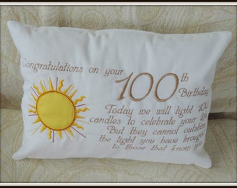 100th birthday gift, 100 birthday gift, birthday pillow, centenarian gift, 100 birthday pillow, senior citizen gift, 100 milestone gift