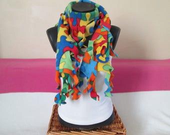 Women rustle puzzle pattern fleece scarf