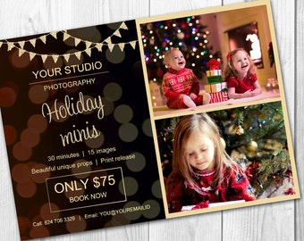 Holiday mini session template - Christmas mini session template - Photography marketing board - Photoshop template