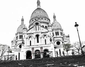Black and White Sacre Coeur Steps - Paris Landmarks - Wall Art Print - Paris Decor - Paris Photo - Architecture - Up The Steps B/W - 0042