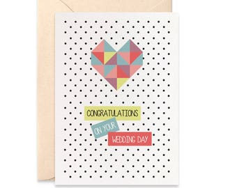 Wedding Card Congratulations, Geometric Love Heart, Geometric Card Wedding Day Card, Card for Bride and Groom Card, Cards for Wedding WED042
