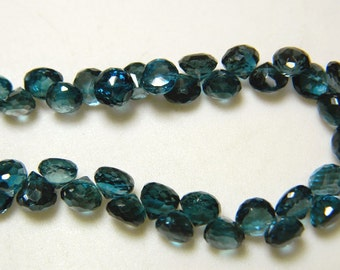 London Blue Topaz Beads, Blue Topaz Onion Briolettes, Faceted Beads, 6mm Beads, 4 Inch Half Strand, SKU-DSCN5793