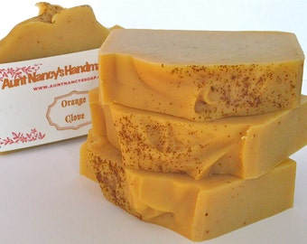 Orange Clove Handmade Soap - Natural Soap Scented with Orange and Clove Essential Oils, Colored with Carrot - Carrot Soap - Spice Soap