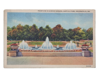 FREE SHIPPING: Vintage Postcard of Fountains in Sunken Gardens, Garfield Park, Indianapolis, Indiana - Mailed 1944