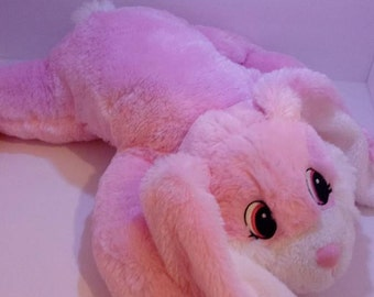 Pink Plush Laying Easter Bunny, Embroidered Bunny Ears, Personalized Bunny Ears, Personalized Easter Bunny, Plush Bunny. Oversized Bunny