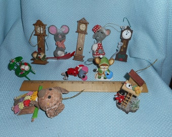10 Assorted Mice Grandfather Clock Christmas Tree Ornament Lot Mouse Vintage Retro