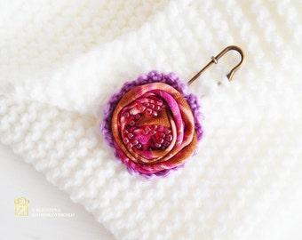 Purple and Pink Flower Pin. Scarf Pin. Beautiful Handmade Brooch. Yarn Knitted Boho Brooch.