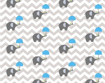 100% cotton fabric piece 160 x 50 cm, the print textile gray elephant with umbrella on unblanc turquoise